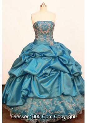 Discount Ball gown Strapless Floor-length Taffeta Blue Quinceanera Dress