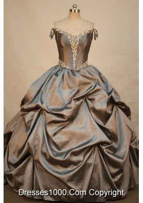 Elegant Ball gown Off the Shoulder Neckline Floor-length Taffeta Brown Quinceanera Dress