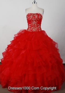 Elegant Ball Gown Strapless Floor-length Red Quinceanera Dresses