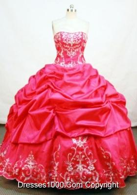 Elegant Ball Gown Strapless Floor-length Taffeta Red Quinceanera Dresses