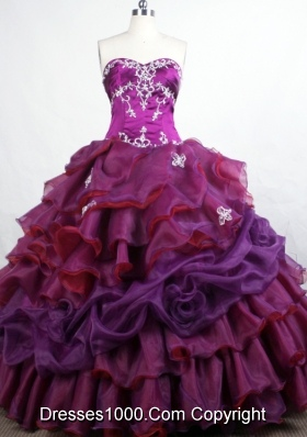 Elegant Ball Gown Sweetheart-neck Floor-length Purple Quinceanera Dresses