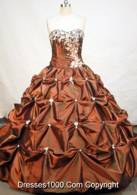 Formal Ball Gown Strapless Floor-length Taffeta Brown Quinceanera Dress