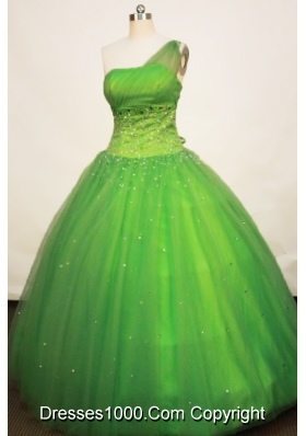 Gorgeous Ball gown One Shoulder Neck Floor-length Tulle Spring Green Quinceanera Dress