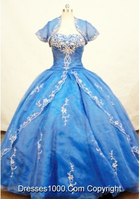 Gorgeous Ball Gown Strapless Floor-length Organza Blue Quinceanera Dresses