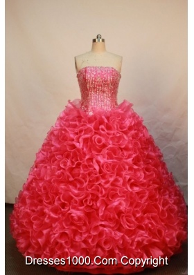 Luxurious Ball gown Strapless Floor-length Organza Red Quinceanera Dress