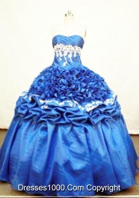 Luxurious Ball Gown Strapless Floor-length Taffeta And Organza Blue Quinceanera Dress