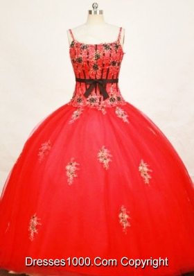 Modest Ball Gown Strap Floor-length Tulle Red Quinceanera Dresses