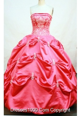 Modest Ball Gown Strapless Floor-length Taffeta Quinceanera Dresses