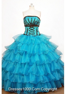 Perfect Ball Gown Strapless Floor-length Teal Organza Quinceanera Dresses
