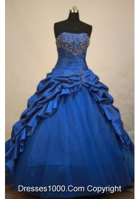 Perfect Ball gown Strapless Floor-length Tulle Blue Quinceanera Dress
