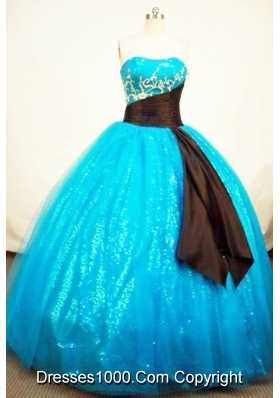 Popular Ball Gown Strapless Floor-length Tulle Aqua BlueQuinceanera Dresses