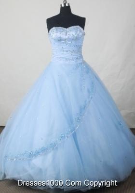 Popular Ball Gown Sweetheart Floor-length Baby Blue Organza Beading Quinceanera Dress