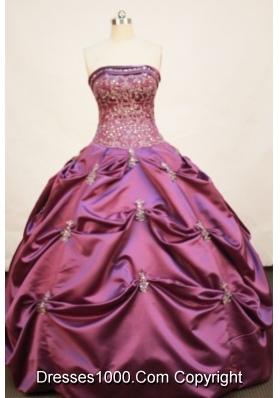 Pretty Ball gown Strapless Floor-length Taffeta Fuchsia Quinceanera Dress