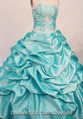 The super hot ball gown strapless floor-length taffeta beading aqua blue quinceanera dresses
