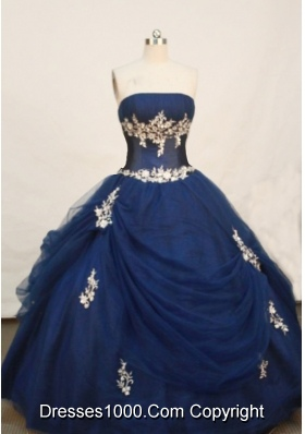 Wonderful Ball gown Strapless Floor-length Navy Blue Quinceanera Dress