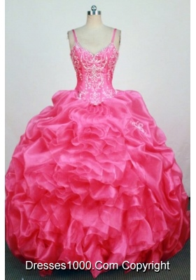 2013 Informal  Straps Floor-Lengtrh Hot Pink Beading and Appliques Quinceanera Dresses