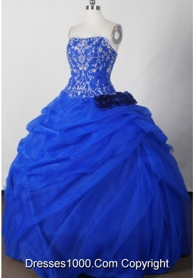 Beautiful Ball Gown Strapless Floor-length Blue Quinceanera Dress