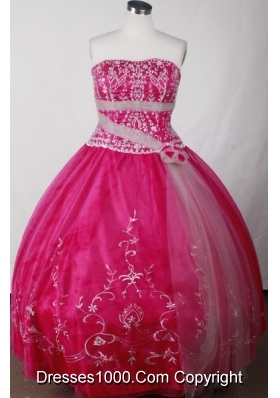 Cute Ball Gown Strapless Floor-length Red Quinceanera Dress