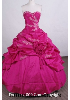 Discount Ball gown Sweetheart Floor-length Quinceanera Dresses Appliques with Beading