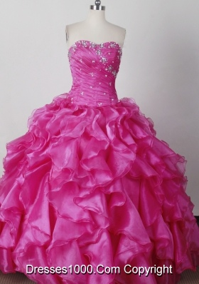 Elegant Ball Gown Strapless Floor-length Hot Pink Quinceanera Dress