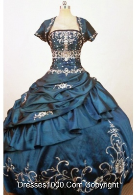 Exquisite Ball Gown Strapless Floor-Length Blue Beading and Embriodery Quinceanera Dress