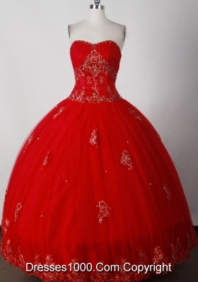 Formal Ball Gown Strapless Floor-length Red Quinceanera Dress