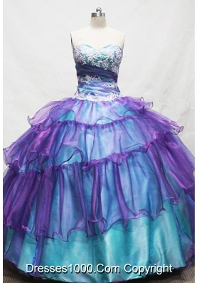 Gorgeous Ball Gown Sweetheart Floor-length Teal Appliques Quinceanera dress