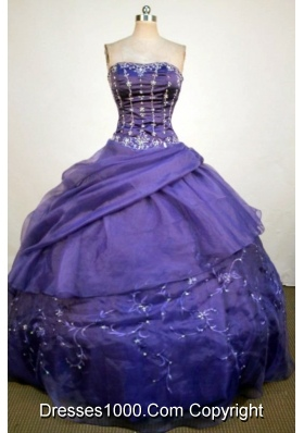 Luxurious Ball Gown Strapless Floor-Length Purple Beading and Appliques Quinceanera Dresses