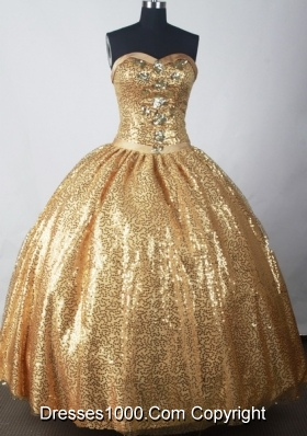 Luxuriously Ball Gown Strapless Floor-length Gold Quinceanera Dress