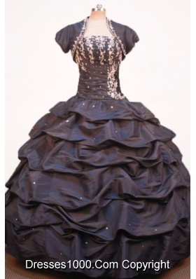 Modest Ball Gown Strapless Floor-length Brown Taffeta Jacket Quinceanera dress