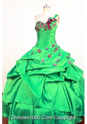 Perfect Ball Gown One Shoulder Neck Floor-Length Spring Green Beading and Appliques Quinceanera Dresses