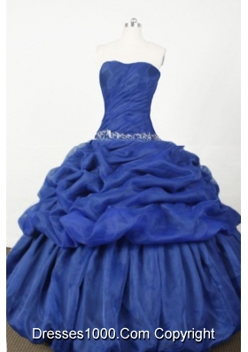 Popular Ball Gown Strapless Floor-length Blue Embroidery Quinceanera dress