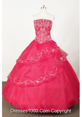 Popular Ball Gown Strapless Floor-length Red Organza Embroidery Quinceanera dress