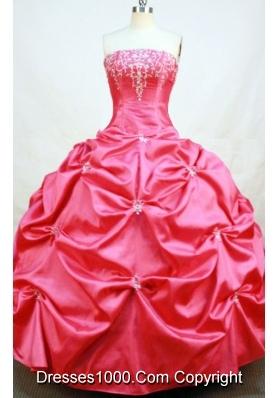 Popular Ball Gown Strapless Floor-length Red Taffeta Beading Quinceanera dress