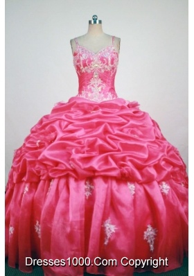 Popular Ball Gown Straps Floor-Length  Red Appliques and Beading Quinceanera Dresses