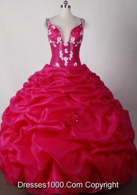 Sexy Ball Gown Straps Floor-length Hot Pink Quinceanera Dress