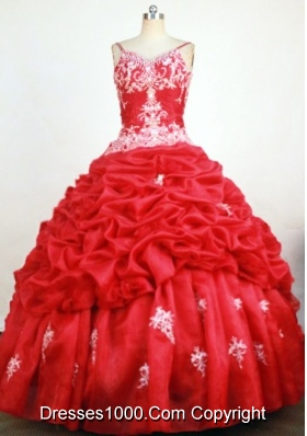 Sweet Ball Gown Straps Floor-Length RedBeading and Appliques Quinceanera Dresses