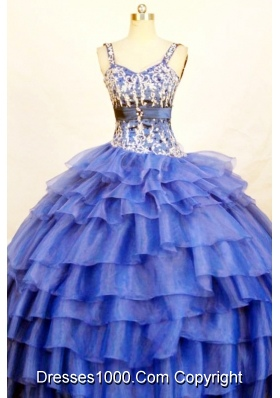 The most Popular Ball Gown Strap Floor-length Blue Quinceanera Dresses