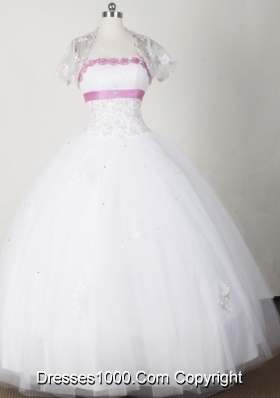 Beautiful Ball Gown Strapless Floor-length White Quinceanera Dress