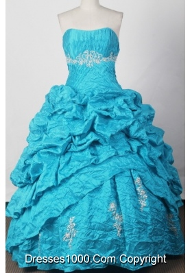 Elegant Ball Gown Strapless Floor-length Blue Quinceanera Dress