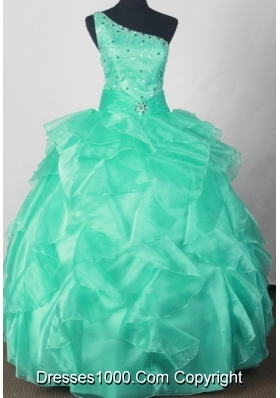 Romantic Ball Gown One Shoulder Neck Floor-length Green Quinceanera Dress