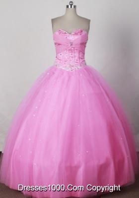 Sweet Ball Gown Strapless Floor-length Pink Quinceanera Dress