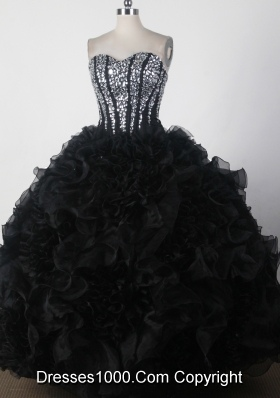 Beautiful Ball Gown Strapless Floor-length Black Quinceanera Dress