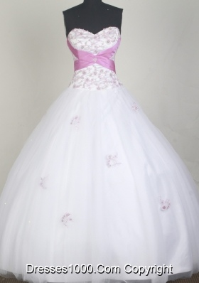 Elegant Ball Gown Sweetheart Neck Floor-length White Quinceanera Dress