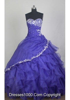 Exclusive Ball Gown Sweetheart Neck Floor-length Blue Quinceanera Dress