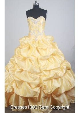 Luxurious Ball Gown Sweetheart  Floor-length Yellow Quinceanera Dress