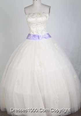 Classical Ball Gown Strapless Floor-length White Quinceanera Dress