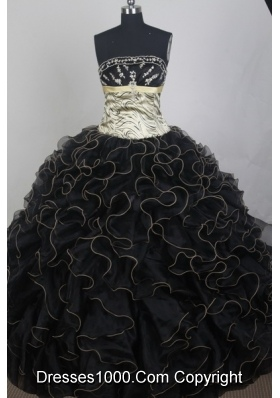 Exclusive Ball Gown Strapless Floor-length Black Quinceanera Dress