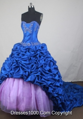 Luxurious Ball Gown Sweetheart Neck Floor-length Blue Quinceanera Dress