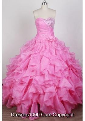 Beautful Ball Gown Sweetheart Neck Floor-length Pink Quinceanera Dress